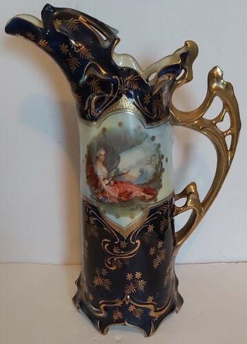 Vintage Sevres Style Handpainted 22k Gold Large Porcelain Gilded EWER Estate
