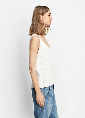 Vince Womens Lattice Stitch Tank Top Shirt Size S Ivory Cream Sleeveless