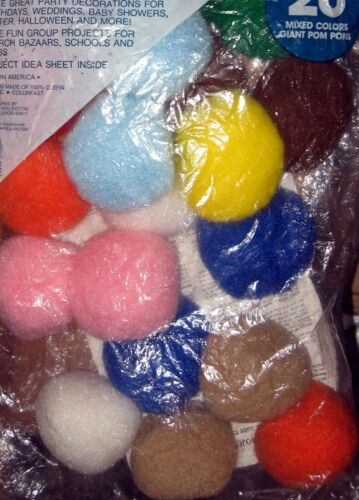 Maxwell Olefin Vintage Giant Pom Poms 80s Fuzzy Multi-Color NOS Crafts Huge Lot