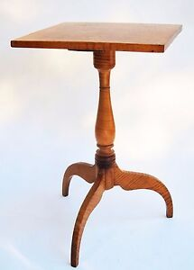 antique furniture tiger curly maple table candlestand federal colonial