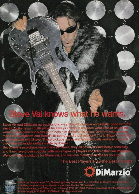 Steve Vai DiMarzio Pickups 2002 8x11 Promo Poster Ad