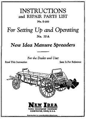 New Idea Model 10-a 10a Manure Spreader Operators Parts And Set Up Manual