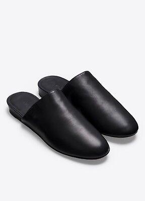 NIB Vince Oren Leather Flat Mule Slide Loafer Sandal Black $250