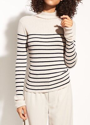 NWT Vince Striped Roll Edge Cashmere Mock Neck Sweater Chalet/Charcoal M $265