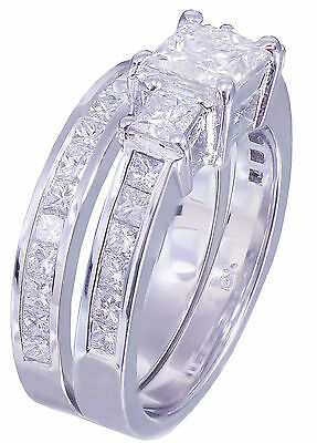 GIA H-VS2 14k white gold princess cut diamond engagement ring and band 2.00ctw 11