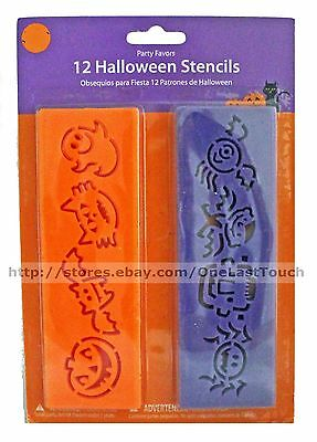 12pc Party Favors* HALLOWEEN STENCILS Orange+Purple+Cat+Ghost+Bat+Spider NEW