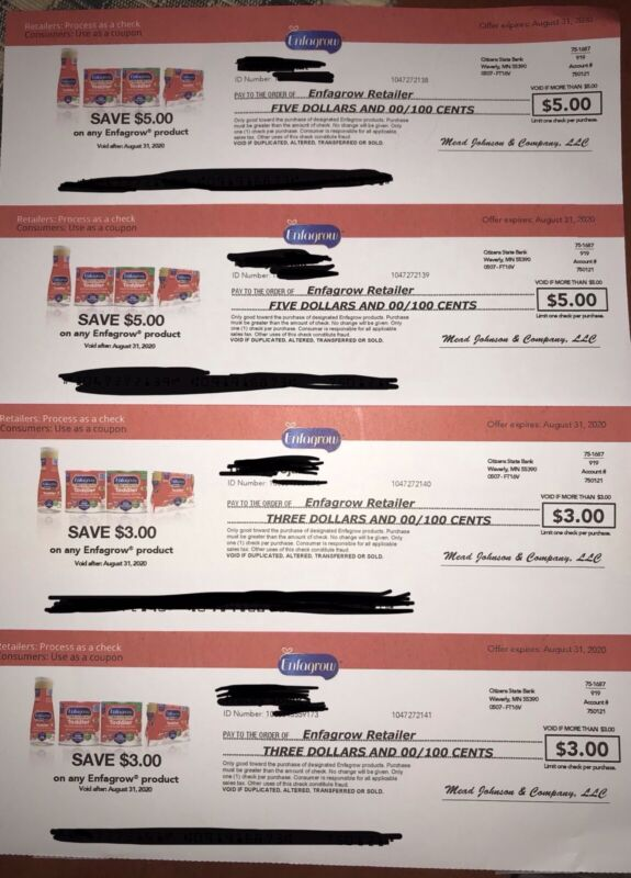 $15 Enfagrow Coupons/Checks Exp 8/31/20