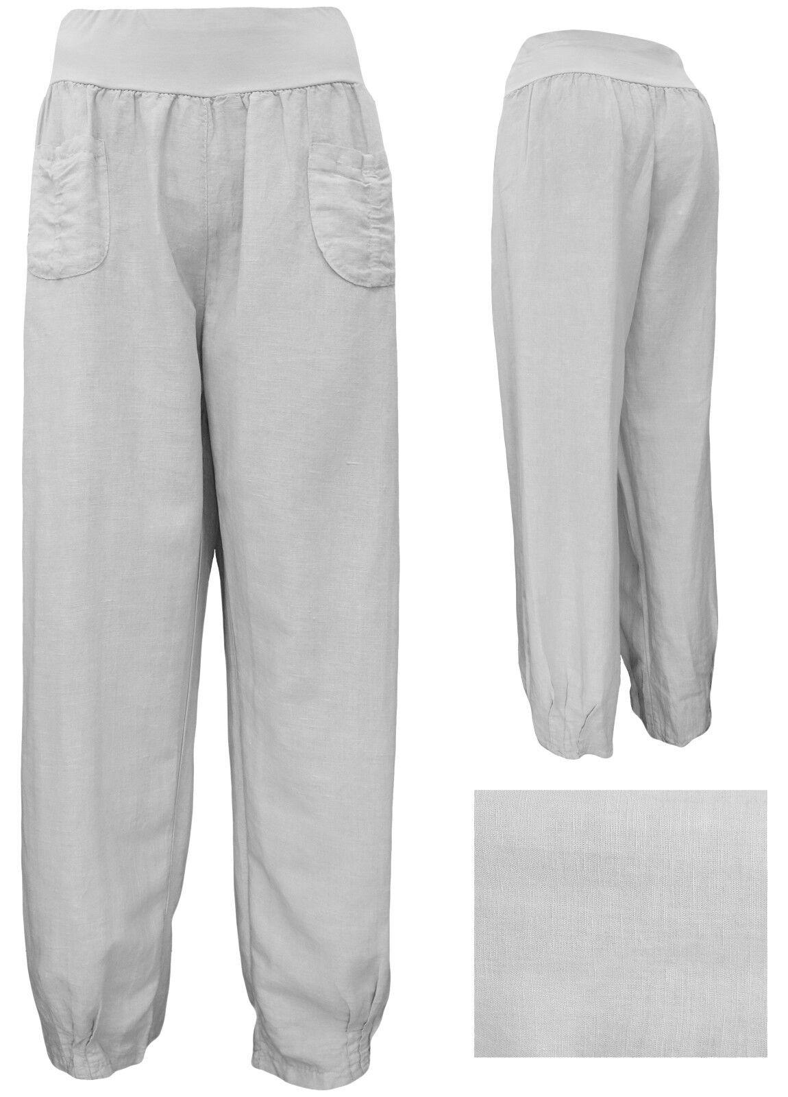 Leinenhose - weite Stoffhosen Damen - Gummizug - leichte Sommerhose Gr. M - 3XL
