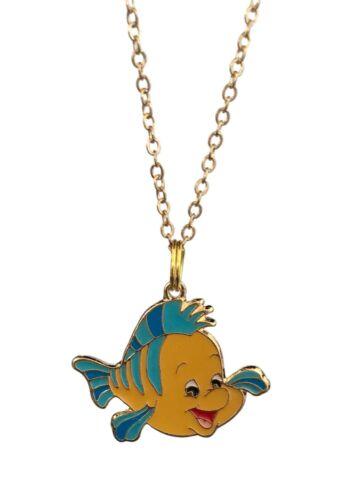 Disney Flounder Necklace Colorful Enamel Metal Charm Pendant