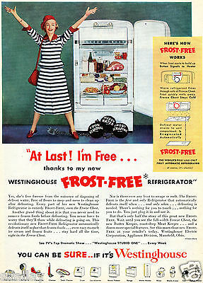 1950 Print Ad of Westinghouse Frost Free Refrigerator woman in prison stripes