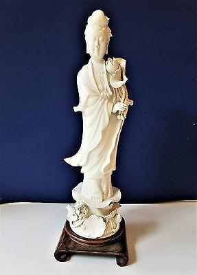 Blanc De Chine Kwan Yin Statue Porcelain Mint Cond. Vintage Free Shipping!