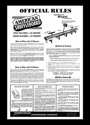 FRAMED ART - AMERICAN TABLE SHUFFLEBOARD RULES & HINTS FOR BETTER PLAY