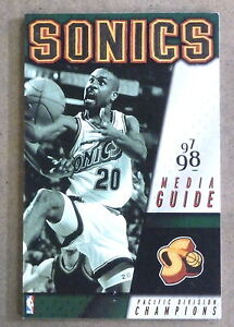SEATTLE SUPERSONICS SONICS NBA BASKETBALL MEDIA GUIDE - 1997 1998 - NEAR MINT