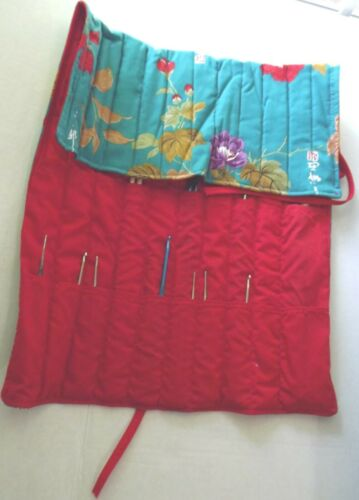 Asian Organizer Fold Case Pouch with 2 set Knitting Needles & 19 Crochet Hooks