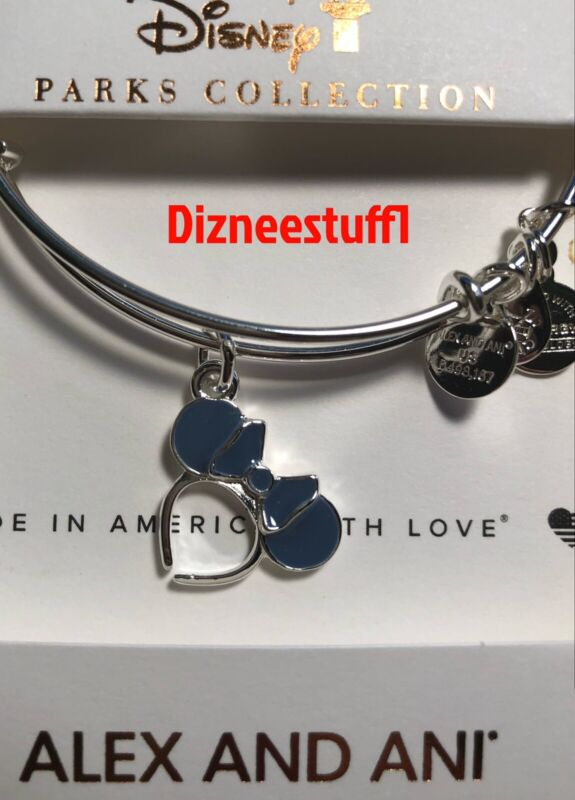 Disney Alex & And Ani Minnie Mouse Headband Light Blue Silver Bracelet