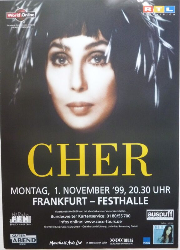 "CHER 1999 ""BELIEVE TOUR"" FRANKFURT, GERMANY CONCERT POSTER - Pop Music Diva"