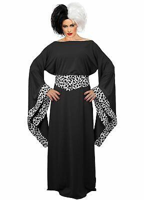 Ladies Black Cruella De Ville Costume 101 Dalmatians Halloween Fancy Dress ()