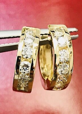 14k Solid Yellow Gold Natural Diamond  huggie hoop earring  13mm channel set