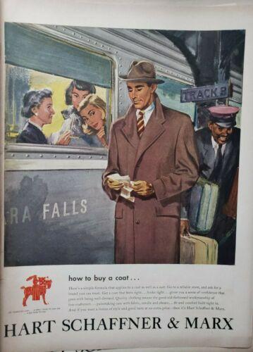 Vintage 1948 Hart Schaffner & Marx Coat Print Ad Ephemera Wall Art Decor