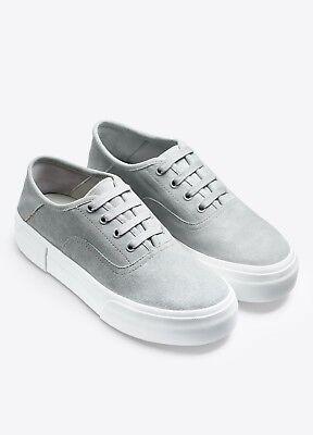 Nib Vince Copley Italian Sport Suede Platform Lace Up Sneaker Cloud  Grey   250