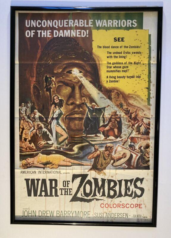 WAR OF THE ZOMBIES ORIGINAL 1965 1 SHEET MOVIE POSTER FLD JOHN DREW BARRYMORE EX