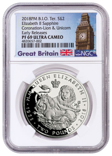 2018 British IO Sapphire Coronation Lion Unicorn Silver NGC PF69 UC ER SKU52992