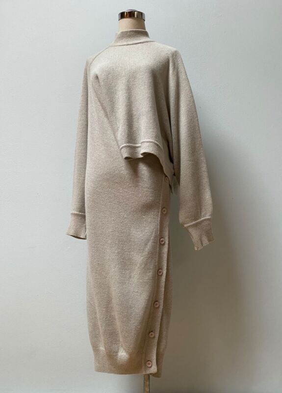ISSEY MIYAKE Vintage 1980s Gray Long Sweater Dress/Top (2 looks in 1), size S/M