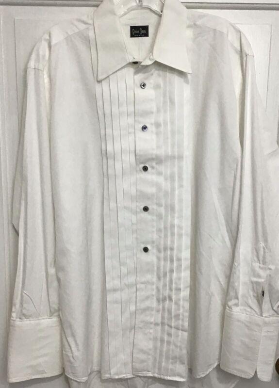 Gitman Bros Mens White Cotton Pleated Tuxedo Shirt French Cuffs Size 16 32