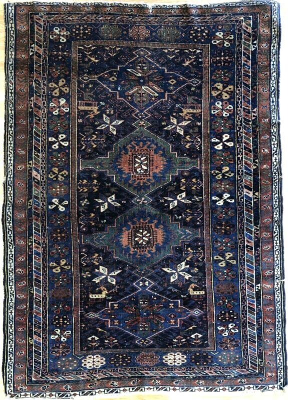 Quality Quba - 1900s Antique Caucasian Rug - Tribal Kazak Carpet - 3.6 X 5 Ft.