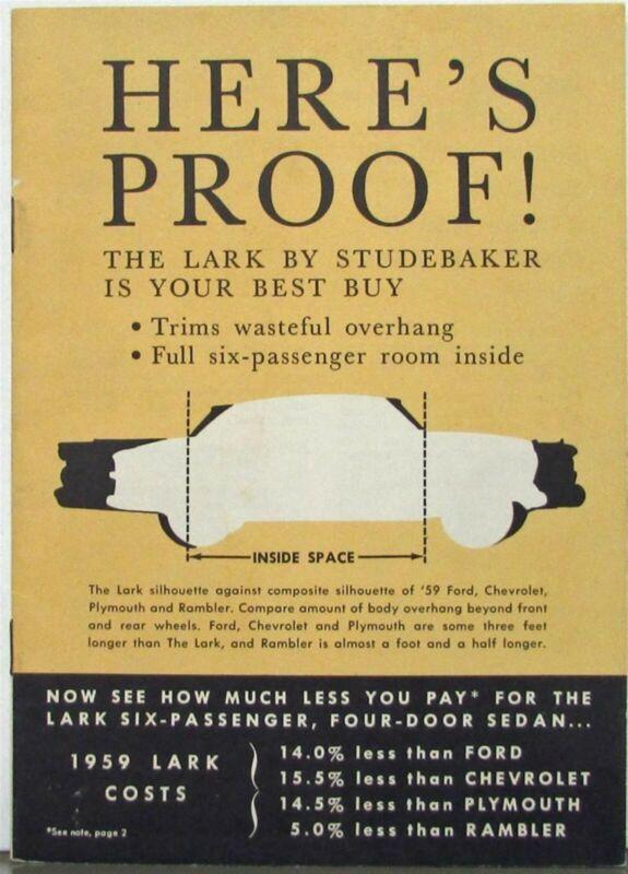 1959 Studebaker Lark & Wagon Comparison Ford Chev Plymouth Rambler Brochure