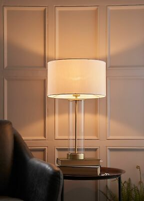 Table Lamp - Touch Dimmer. Glass, Vintage White Shade and Gold Effect 570mm