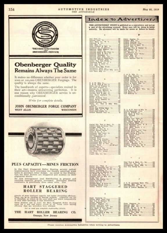 1919 Hart Roller Bearings Orange New Jersey & Obenberger West Allis WI Print Ad