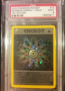 1st Edition Rainbow Energy Holo Pokemon Card PSA Graded 9 PLUS bonus!!