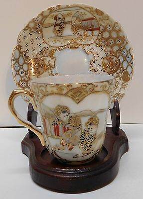 Teacup and Saucer with Two Children Scalloped Rim Gold Accent Vintage Asian