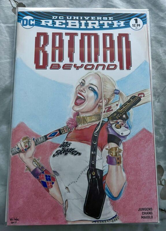 Harley Quinn Original Art Blank Cover Sketch