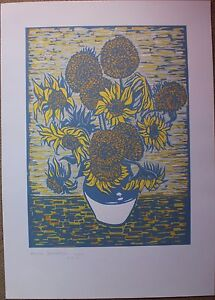 Linogravure S/N de Martin SCHWARZ d'après les Tournesols de Vincent Van Gogh - France - Type: Gravure Caractéristiques: Signée Thme: Nature morte Authenticité: Original Période: XXme et contemporain - France