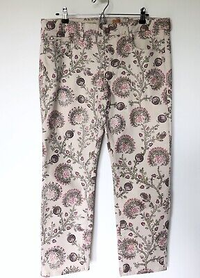 Anthropologie Pilcro Women's Skinny Ankle Jeans Sz 32 Stet Fit Cream Pink Floral