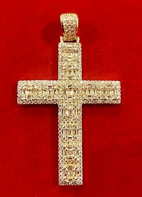 - Men's 14K Gold Finish Custom BAGUETTE CROSS New Design Prong Set Pendant Charm