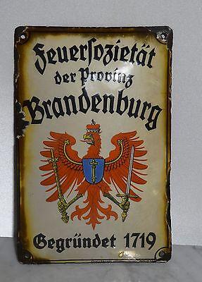 Antikes Versicherungs Schild Emaileschild Feuersozietät der Provinz Brandenburg