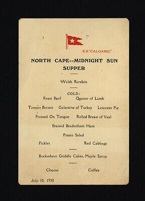"S.S. ""Calgarac"" 7/10/30 North Cape - Midnight Sun Supper Menu"