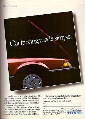 Used, 1985 Honda Motor Company Automobile Car Vintage Print Ad Advertisement 1980s for sale  Thornhill