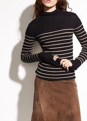 NWT Vince Striped Roll Edge Cashmere Mock Neck Sweater Black/Pebble Taupe $265