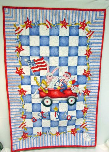 Handmade Baby Blanket Quilt Wall Hanging A Star is Born Red White Blue 27x42""