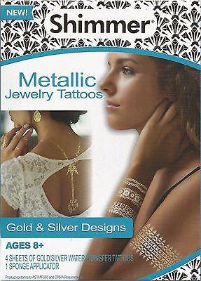 Shimmer Metallic Jewelry Tattoos Gold & Silver Designs 70 Tattoos NEW (Shimmer Tattoos)