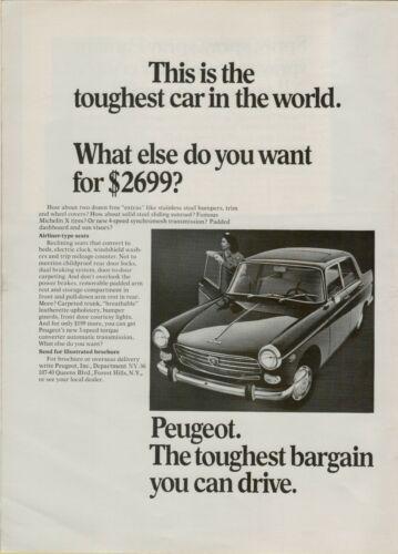 1967 Peugeot Toughest Car in the World Free Extras Sedan Car  Vintage Print Ad