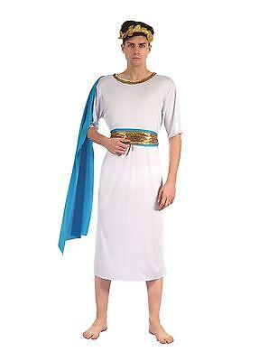 Erwachsene Antike Römische oder Griechischer Gott Toga mit Blauer Schärpe - Toga Kostüm Männlich