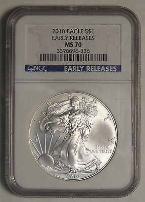 2010 Silver American Eagle, Perfect NGC MS-70 First Strike  0310-12