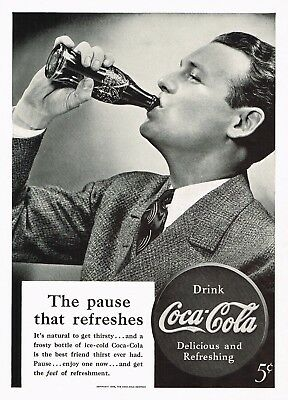 1930s Original Vintage Coca Cola Man Drinking Coke Bottle Fashion Photo Print Ad