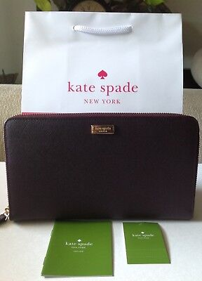 NEW KATE SPADE TALLA LAUREL WAY LEATHER TRAVEL LARGE ZIP WALLET IN MAHOGANY.