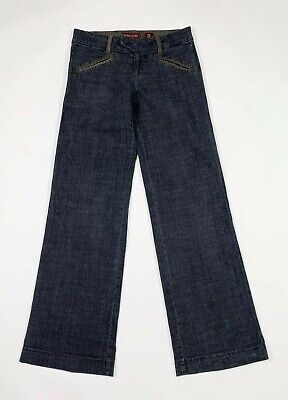 Bomm bumm jeans donna usato a campana W26 tg 40 loose flared denim blu T6721